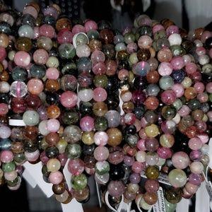 Jewelry - Rainbow Tourmaline 5-7mm bead gemstone bracelet.
